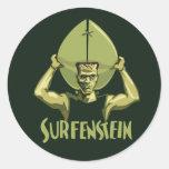 Surfing Halloween Frankenstein Classic Round Sticker