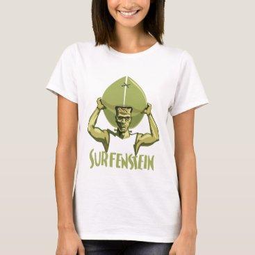 Beach Themed Surfing Halloween Frankenstein T-Shirt