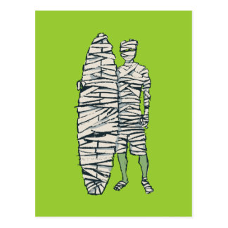 Surfing Halloween Mummy Post Card