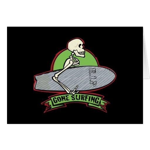 Surfing Halloween Skeleton Greeting Card