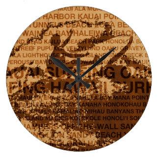 Surfing Hawaii Cutback Faux Wood Clock