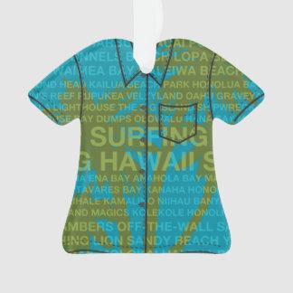 Surfing Hawaii Palm Trees Hawaiian Aloha Shirt Ornament