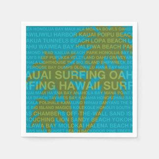 Surfing Hawaii Palm Trees Hawaiian Tropical Napkin