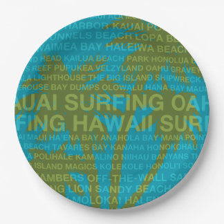Surfing Hawaii Palm Trees Hawaiian Tropical Paper Plate
