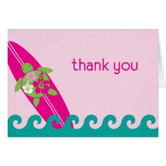 Surfing Hawaiian Honu Thank You Card Pink
