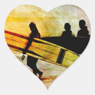 Surfing Heart Sticker