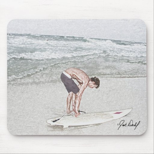 Surfing (Hitting the surf) Mouse Pad