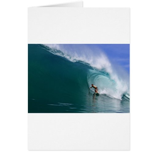 Surfing huge paradise island wave greeting card