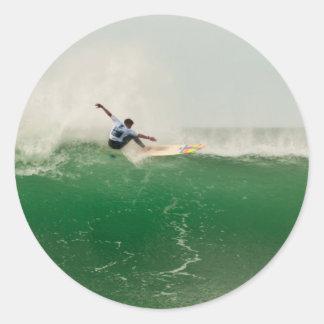 Surfing in Biarritz Classic Round Sticker