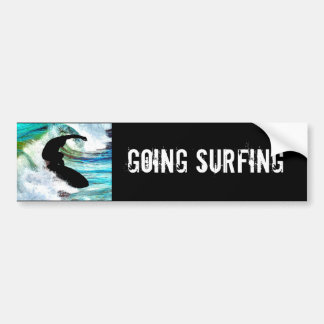Surfing in Curling Wave Bumper Sticker
