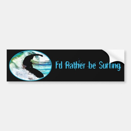 Surfing in Curling Wave Car Bumper Sticker
