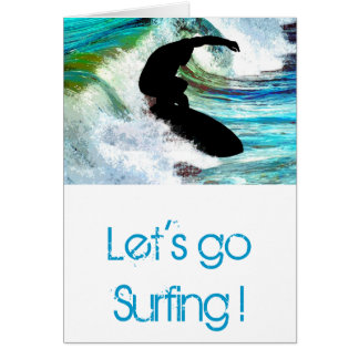 Surfing in Curling Wave Card