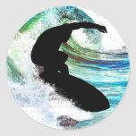 Surfing in Curling Wave Classic Round Sticker