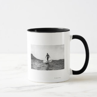 Surfing in Honolulu Hawaii Longboard Surfer Mug
