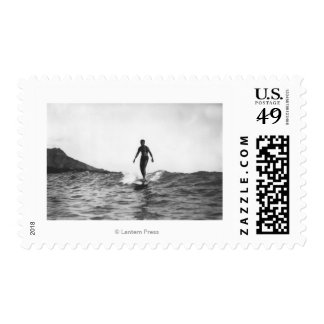 Surfing in Honolulu Hawaii Longboard Surfer Postage