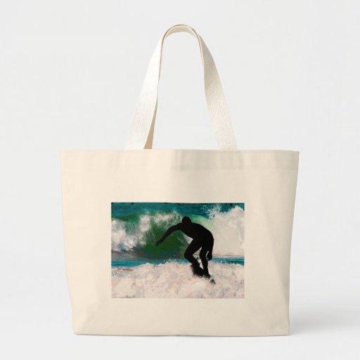 Surfing in Ocean Foam Tote Bag