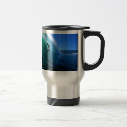 Surfing in the green tube South Africa paradise 15 Oz Stainless Steel Travel Mug