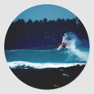 surfing indonesia nias air reverse blowtail classic round sticker