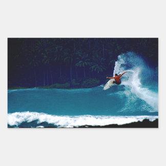 surfing indonesia nias air reverse blowtail rectangular sticker