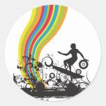 surfing into rainbows round sticker