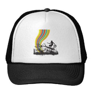 surfing into rainbows trucker hat