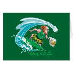 Surfing Irish Leprechaun Greeting Card