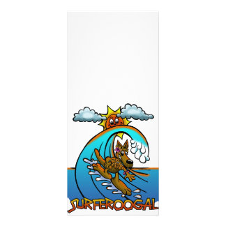 SURFING KANGAROO CARTOON RACK CARD