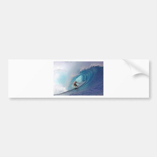 Surfing large blue wave Mentawai Islands Car Bumper Sticker