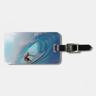 Surfing large blue wave Mentawai Islands Bag Tags