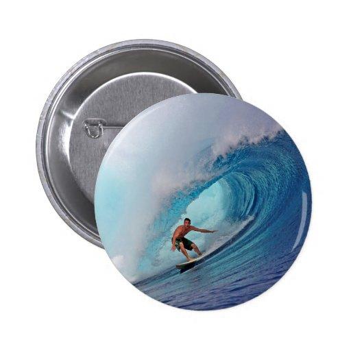 Surfing large blue wave Mentawai Islands Pin