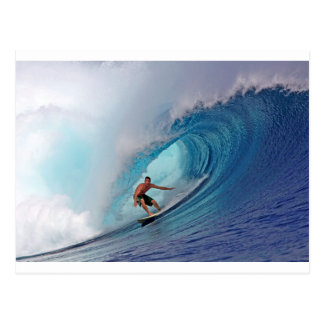 Surfing large blue wave Mentawai Islands Postcard