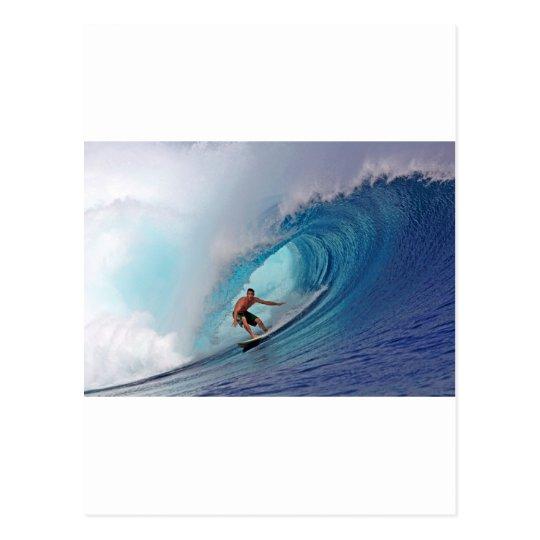 Surfing large blue wave Mentawai Islands Postcard