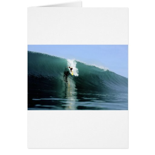 Surfing large green extreme surfing wave greeting card