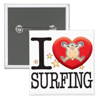 Surfing Love Man 2 Inch Square Button