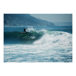 Surfing Malibu Waves Poster
