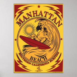 SURFING MANHATTAN BEACH CALIFORNIA POSTER