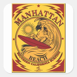 SURFING MANHATTAN BEACH CALIFORNIA SQUARE STICKER