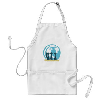 Surfing meercats cartoon watching the waves No.2. Adult Apron