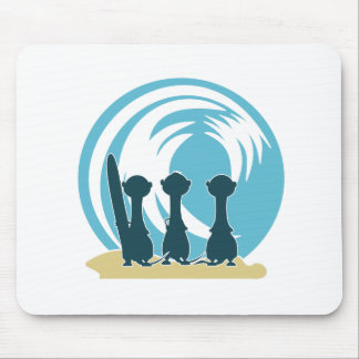 Surfing meercats cartoon watching the waves No.2. Mouse Pad