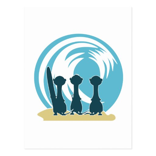 Surfing meercats cartoon watching the waves No.2. Postcard