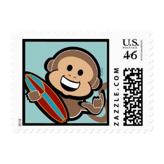 surfing monkey BEACH BIRTHDAY stamp
