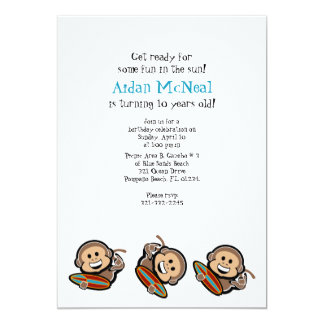 surfing monkey BIRTHDAY PARTY invitation v2