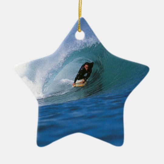 Surfing New Zealand perfect wave Ceramic Ornament