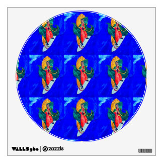 surfing nuns blue wave decal wall graphic