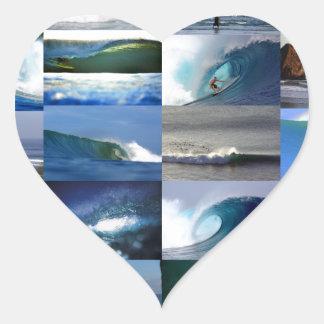 Surfing ocean waves montage heart sticker