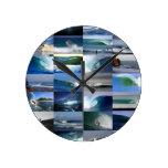 Surfing ocean waves montage round wall clocks