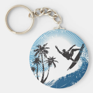 Surfing on the waves keychain