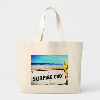 Surfing Only Beach Sign Jumbo Tote Bag