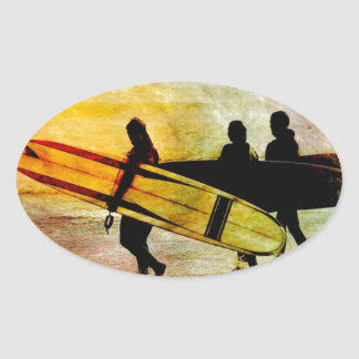 Surfing Oval Sticker