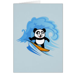 Greeting Card with Cute Surfing Panda design